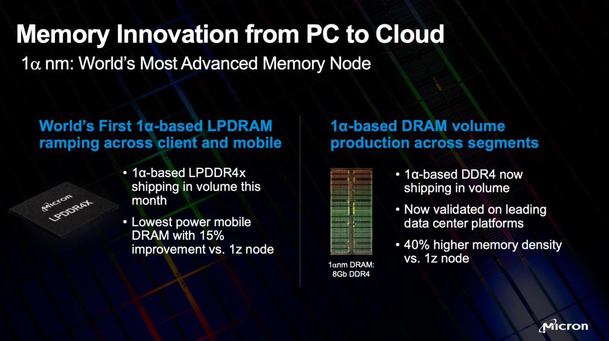 Micron 1-Alpha LPDDR4x und DDR4 Ankündigung